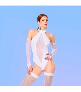 ROSE BODY BLANC LYCRA/RESILLE